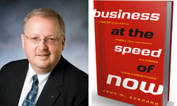 John Bernard and cover of his book Business at the speed of Now